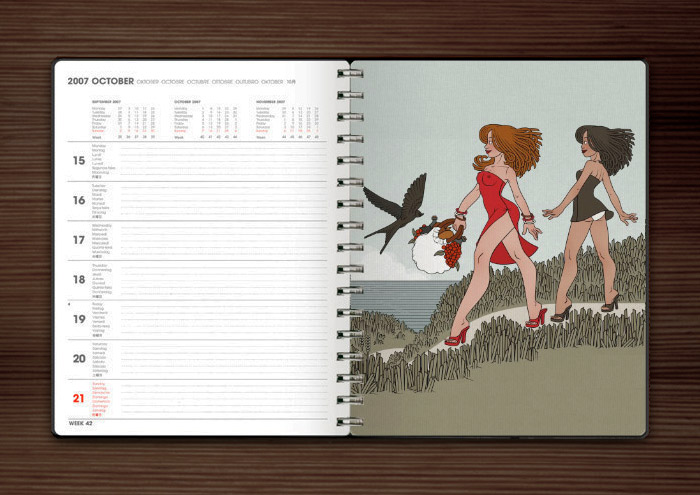 Zeichnung von Iris Luckhaus mit Freundinnen, die im Sommer Urlaub am Meer machen und unterwegs zum Picknick am Strand sind, im Illustration Now Wochenkalender vom Taschen Verlag