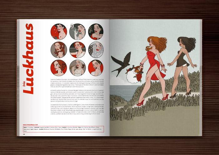 Zeichnung von Iris Luckhaus mit Freundinnen, die im Sommer Urlaub am Meer machen und unterwegs zum Picknick am Strand sind, in der Anthologie Illustration Now! vom Taschen Verlag