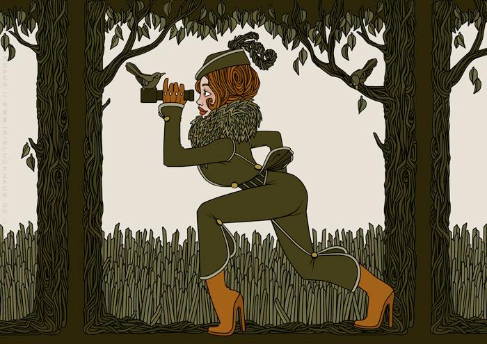 Zeichnung von einer Jägerin im Wald mit Fernglas auf der Pirschjagd für Jitter Magazin