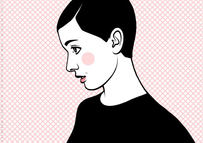 Comic Popart Retro Tusche Zeichnung mit Portrait von Audrey Hepburn als Heldin der Sixties