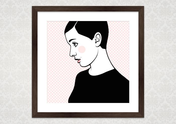 Poster von Comic Popart Retro Tusche Zeichnung mit Portrait von Audrey Hepburn als Heldin der Sixties
