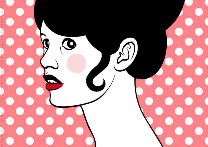 Comic Popart Zeichnung mit Portrait von Brigitte Bardot als Heldin der Sixties