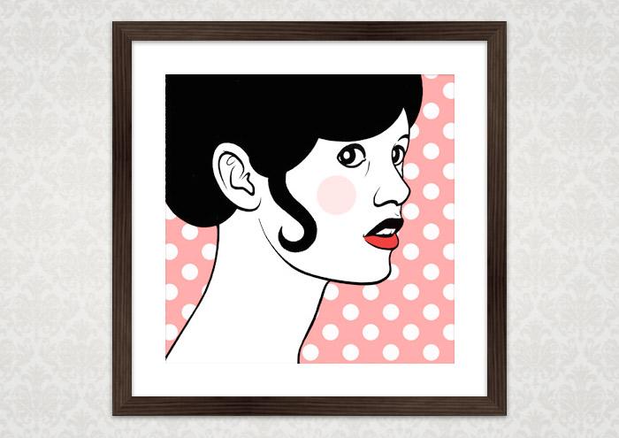 Poster von Comic Popart Retro Tusche Zeichnung mit Portrait von Brigitte Bardot als Heldin der Sixties
