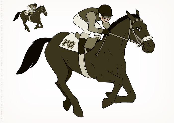 Zeichnung von Jockey auf galoppierendem Pferd beim Pferderennen für das Logo vom Pferdequiz