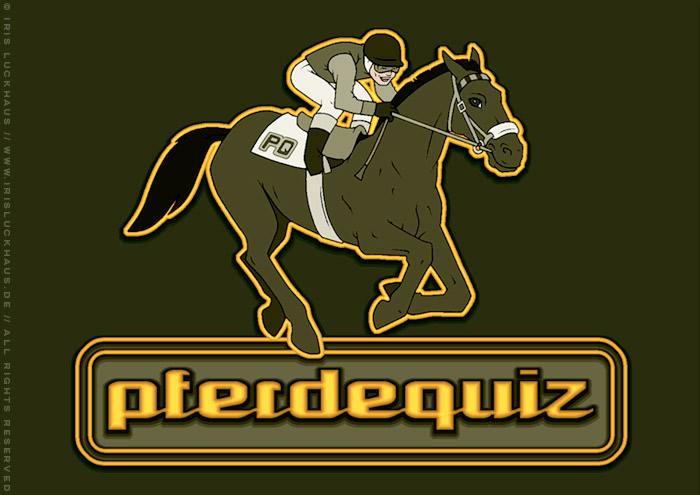 Pferdequiz Logo mit Zeichnung von Jockey auf galoppierendem Pferd beim Pferderennen