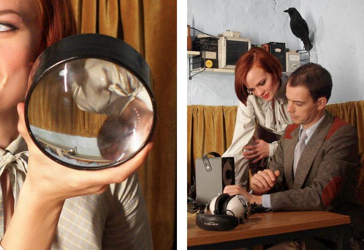 Styling mit Lupen im DDR-Büro für ein Shooting von Fotos für CD-Cover udn Plakate die Berliner Band Recorder mit den Musikern Louise Gold und Daniel Dorsch