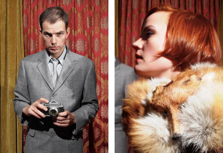 Styling von Portraits für ein Shooting von Fotos für CD-Cover und Plakate mit der Berliner Band Recorder mit den Musikern Louise Gold und Daniel Dorsch