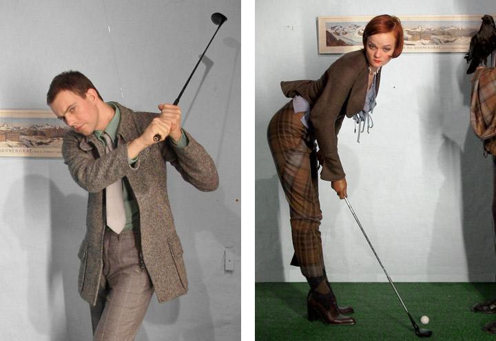 Styling einer Golfszene für ein Shooting von Fotos für CD-Cover und Plakate mit der Berliner Band Recorder mit den Musikern Louise Gold und Daniel Dorsch