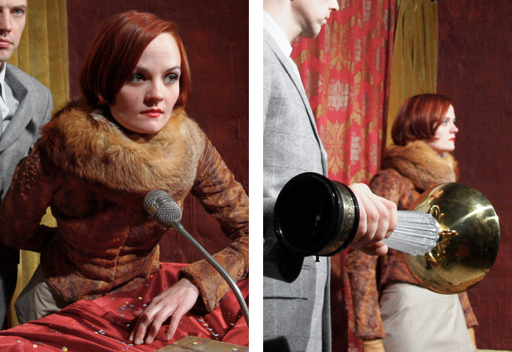 Styling mit Mirkofon und Mordwerkzeug für ein Shooting von Fotos für CD-Cover und Plakate mit der Berliner Band Recorder mit den Musikern Louise Gold und Daniel Dorsch