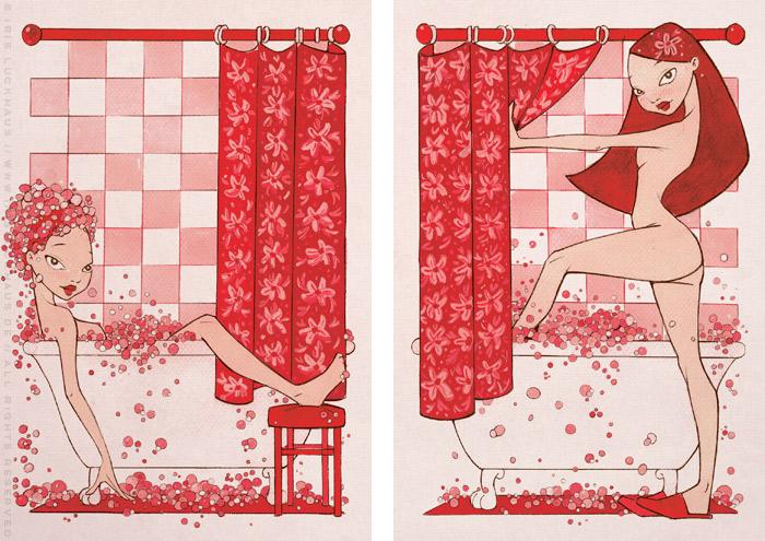 Gouache-Illustrationen von zwei Mädchen im Schaumbad in einem rosaroten Badezimmer