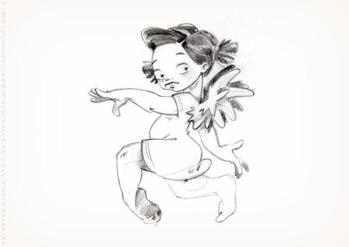 Characterdesign Skizze für kokette Schutzengel im Nachthemd Figuren für MogUp
