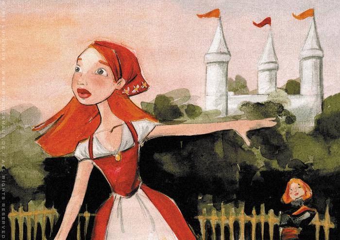 Ausschnitt aus Handzeichnung mit Aquarell zum Märchen Falada oder die Gänsemagd Bauernmädchen mit Schürze und Kopftuch am See von Iris Luckhaus