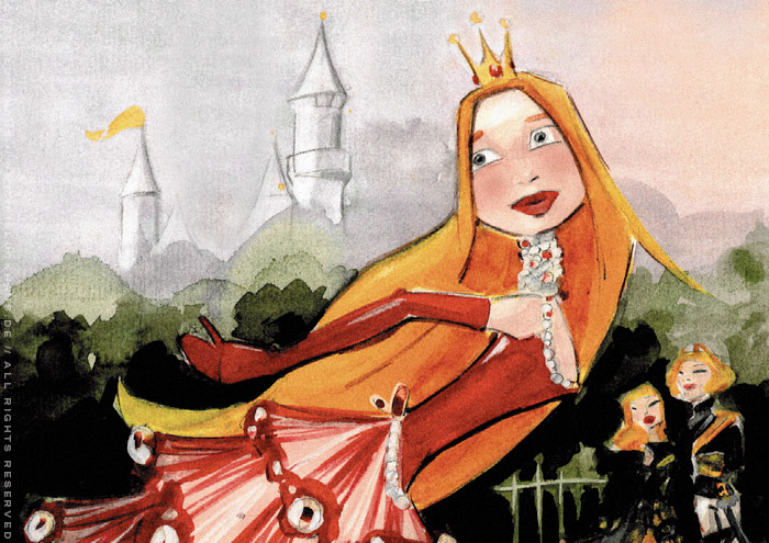 Ausschnitt aus Handzeichnung mit Aquarell zum Märchen Aschenbrödel, Aschenputtel oder Cinderella mit Prinzessin im Ballkleid am See von Iris Luckhaus