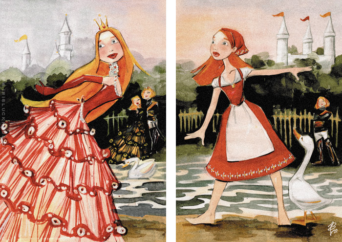 Handzeichnungen mit Aquarell zum Märchen Aschenbrödel, Aschenputtel oder Cinderella und Falada oder die Gänsemagd mit Prinzessin im Ballkleid und Bauernmädchen mit Schürze und Kopftuch am See von Iris Luckhaus