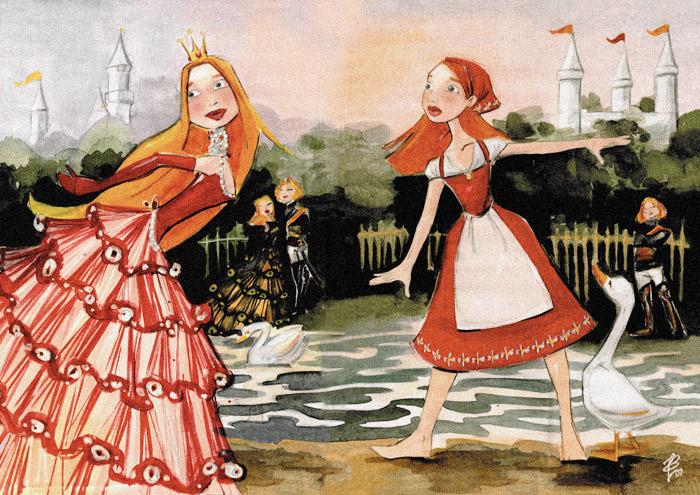 Ganze Handzeichnung mit Aquarell zum Märchen Aschenbrödel, Aschenputtel oder Cinderella und Falada oder die Gänsemagd mit Prinzessin im Ballkleid und Bauernmädchen mit Schürze und Kopftuch am See von Iris Luckhaus