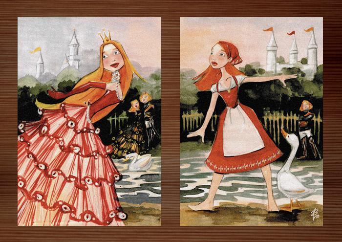 Postkarten der Handzeichnung mit Aquarell zum Märchen Aschenbrödel, Aschenputtel oder Cinderella und Falada oder die Gänsemagd mit Prinzessin im Ballkleid und Bauernmädchen mit Schürze und Kopftuch am See