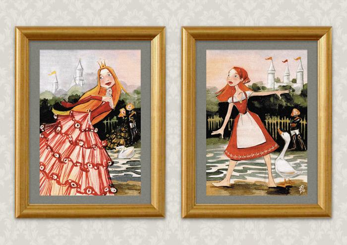 Gerahmte Drucke der Handzeichnung mit Aquarell zum Märchen Aschenbrödel, Aschenputtel oder Cinderella und Falada oder die Gänsemagd mit Prinzessin im Ballkleid und Bauernmädchen mit Schürze und Kopftuch am See
