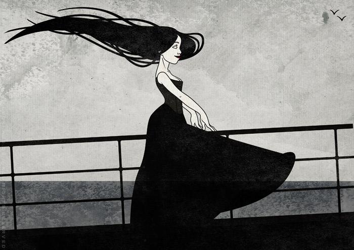 Zeichnung mit Tusche, Collage und Aquarell Hintergrund von einem koketten Mädchen im Sturm an der Relings an Bord eines Ozeandampfers oder Schiffs auf hoher See