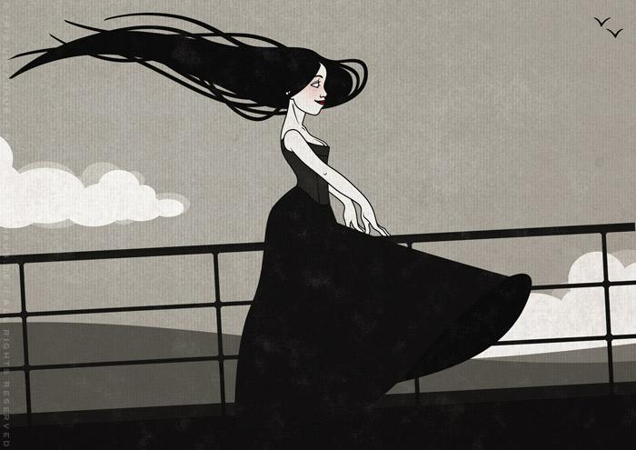Zeichnung mit Tusche und Collage von einem koketten Mädchen im Sturm an der Relings an Bord eines Ozeandampfers oder Schiffs auf hoher See