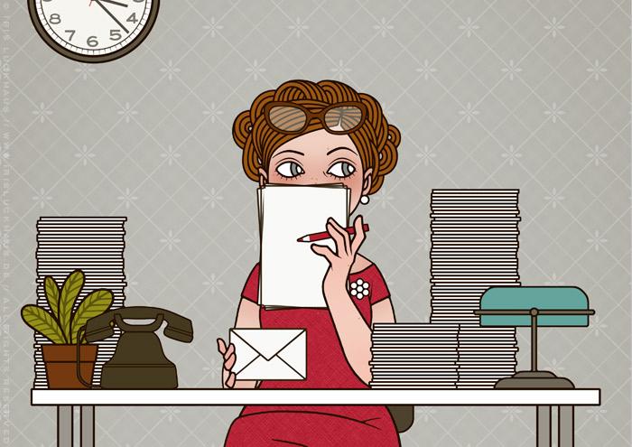 Retro-Illustration von Iris Luckhaus mit einer Sekretärin, die sich an ihrem Schreibtisch schüchtern hinter Papieren versteckt