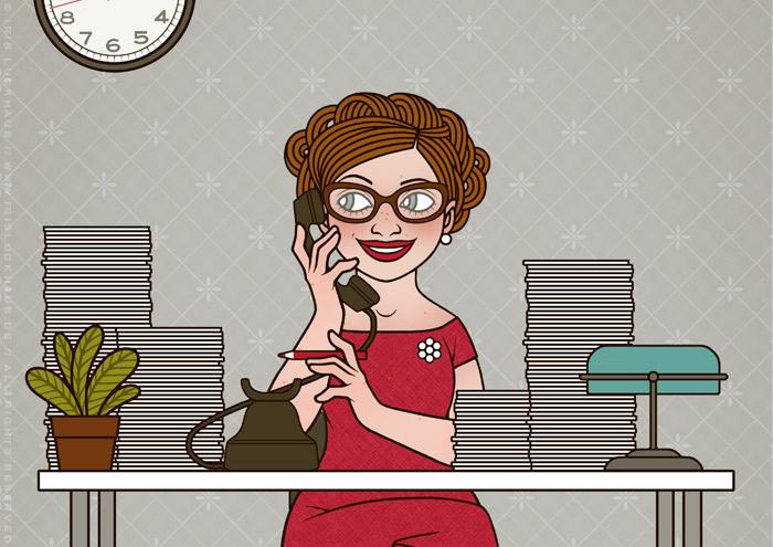Retro-Illustration von Iris Luckhaus mit einer Sekretärin, die an ihrem Schreibtisch fröhlich telefoniert