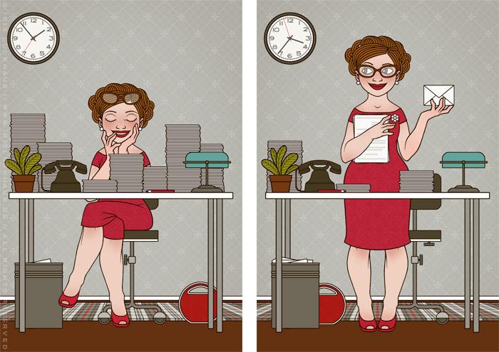 Retro-Illustrationen einer Sekretärin, die an ihrem Schreibtisch ein Nickerchen hält und Korrespondenz, Ablage, Post und Papiere erledigt