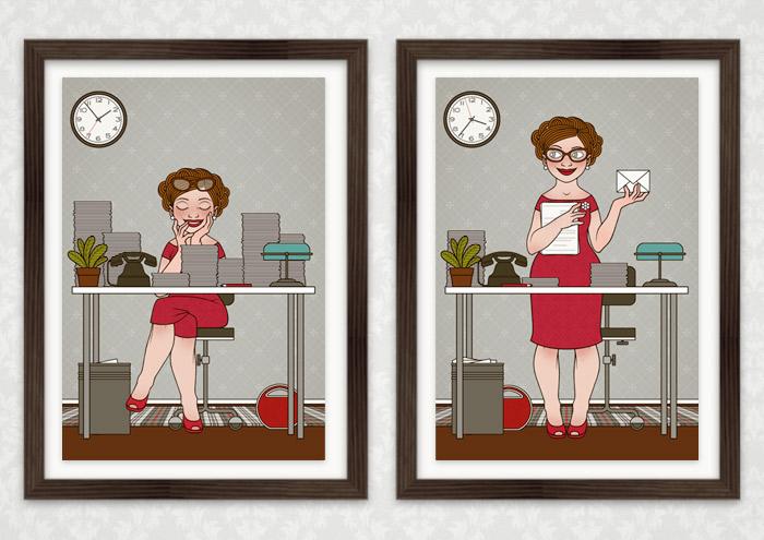 Poster Sekretärin im Schlaf und Sekretärin mit Korrespondenz