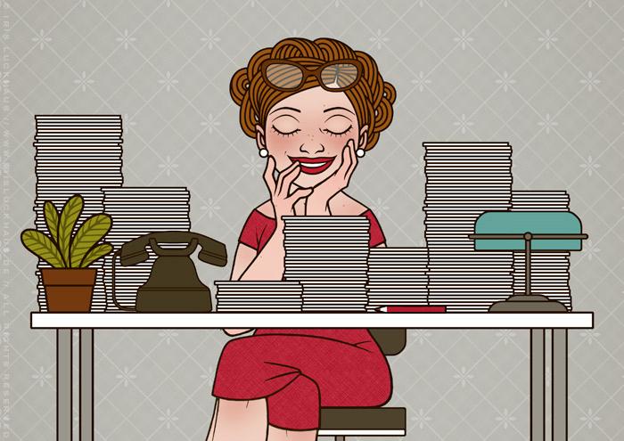 Retro-Illustration einer Sekretärin, die an ihrem Schreibtisch selig schläft