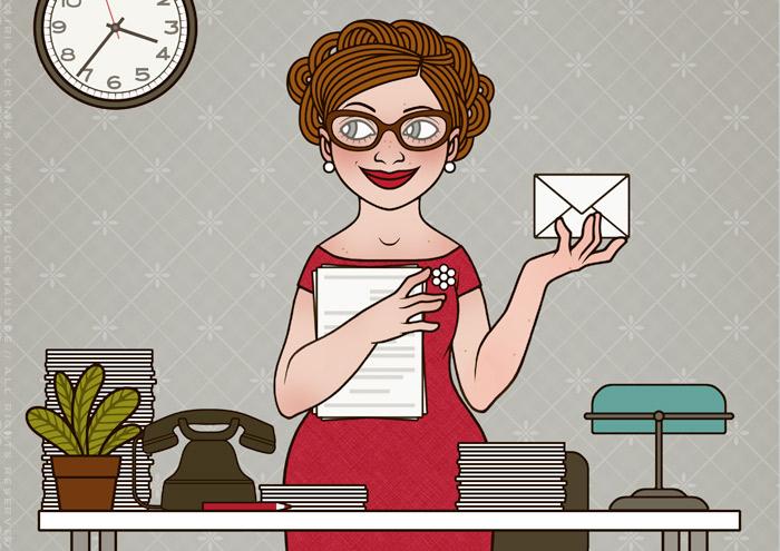 Retro-Illustration einer Sekretärin, die an ihrem Schreibtisch Korrespondenz, Ablage, Post und Papiere erledigt