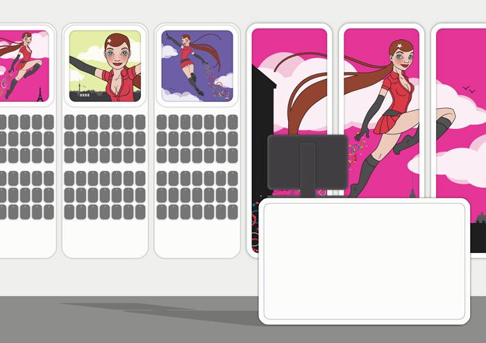 Mockup der Dekoration von SIX Accessories Modeschmuck Laden mit Vektorillustrationen eines Pinup Mädchens als Superheldin oder Supergirl Sixgirl