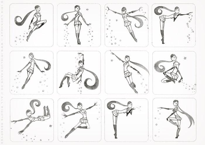 Erste Character Design Scribbles mit Posen für ein fliegendes Pinup Mädchen als Superheldin oder Supergirl Sixgirl für SIX Accessories
