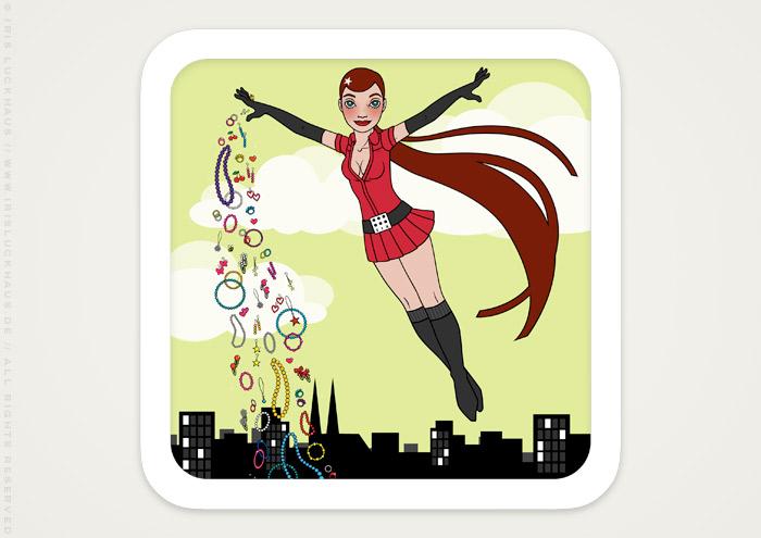 Vektorillustration eines weltumarmenden Pinup Mädchens als Superheldin oder Supergirl Sixgirl für Werbung und Dekoration von SIX Accessories