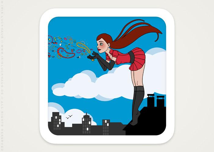 Vektorillustration eines auf dem Dach stehenden Pinup Mädchens als Superheldin oder Supergirl Sixgirl für Werbung und Dekoration von SIX Accessories