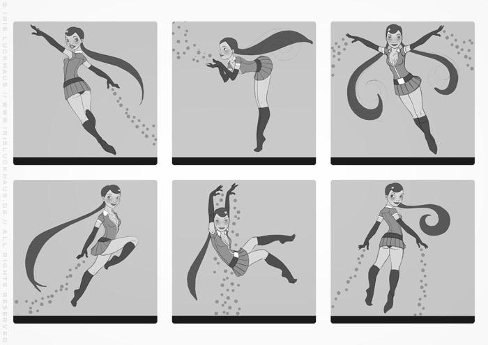 Character Design Skizzen mit Posen für ein fliegendes Pinup Mädchen als Superheldin oder Supergirl Sixgirl für SIX Accessories