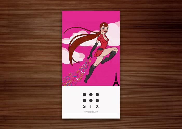 Tütchen von SIX Accessories Modeschmuck Laden mit Vektorillustrationen eines Pinup Mädchens als Superheldin oder Supergirl Sixgirl