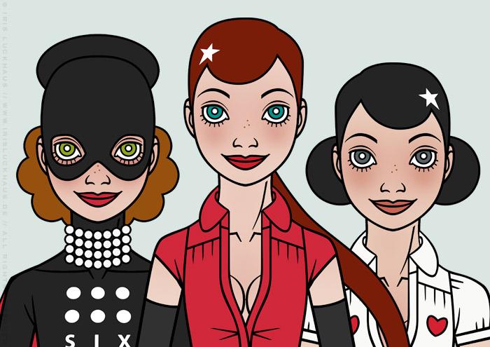Character Design von Gesichtern für ein Pinup Mädchen als Superheldin oder Supergirl Sixgirl für SIX Accessories von Iris Luckhaus