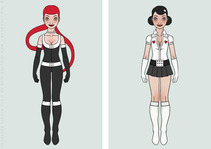 Character Design Kostüme im Yoga und Manga Look für ein Pinup Mädchen als Superheldin oder Supergirl Sixgirl für SIX Accessories von Iris Luckhaus