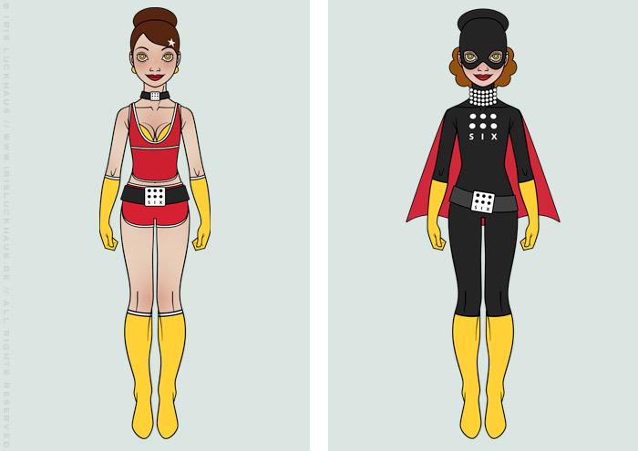Character Design und Kostüme im Batgirl und Supergirl Look für ein Pinup Mädchen als Superheldin oder Supergirl Sixgirl für SIX Accessories von Iris Luckhaus
