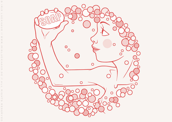 Rosa Zeichnung eines freundlichen Mädchens mit Seife und Schaum