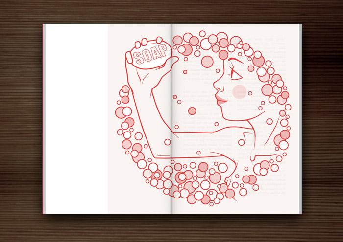 Magazin-Illustration eines freundlichen rosa Mädchens mit Seife und Schaum