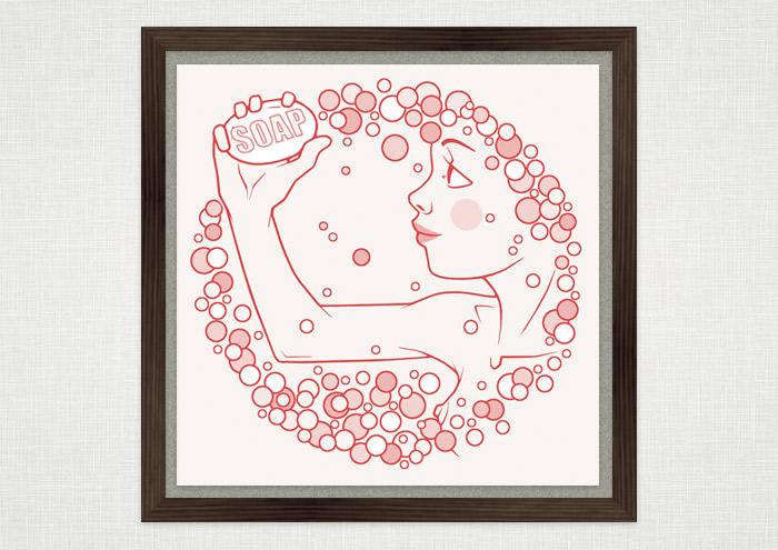 Rosa Zeichnung eines freundlichen Mädchens mit Seife und Schaum als Kunstdruck im Rahmen