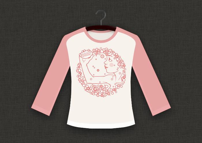 Rosa Zeichnung eines freundlichen Mädchens mit Seife und Schaum als Aufdruck für ein T-Shirt