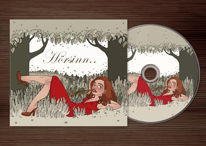 CD und CD-Cover mit der Illustration eines Mädchens, das nach dem Picknick auf einer Sommerwiese liegt und in den Abend träumt, für Dr. Hilbert