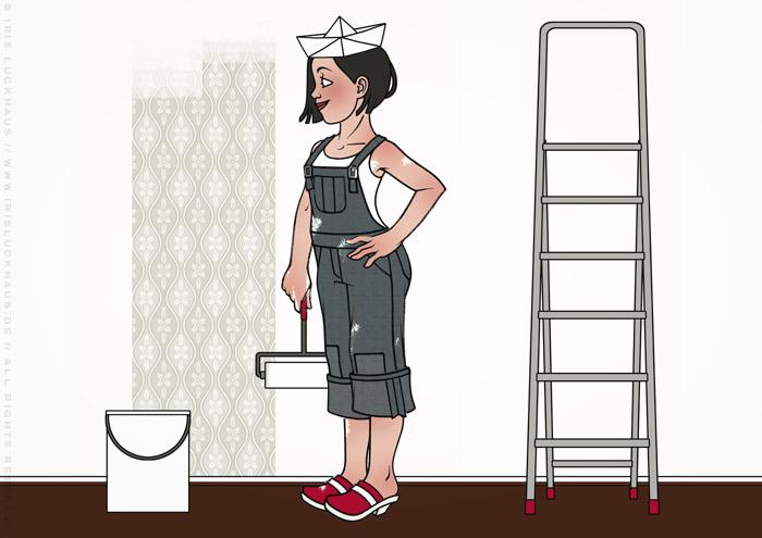 Zeichnung von einem Mädchen mit Zeitungshut, Latzhose und Farbrolle beim Renovieren und Anstreichen der Wände ihrer Wohnung für Homestaging