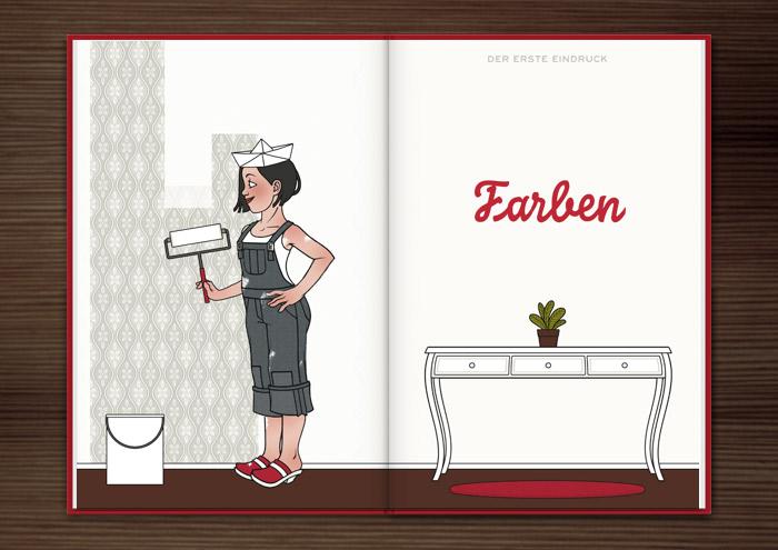 Zeichnung von einem Mädchen mit Zeitungshut, Latzhose und Farbrolle beim Renovieren und Anstreichen der Wände ihrer Wohnung für Homestaging im Buch über Homestaging