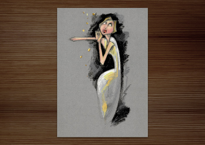 Postkarte der Handzeichnung mit Ölkreide zum Märchen Sterntaler der Gebrüder Grimm