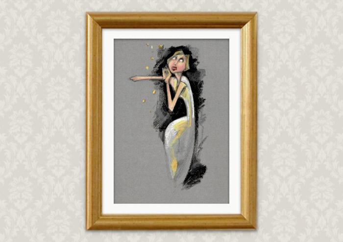 Poster der Handzeichnung mit Ölkreide zum Märchen Sterntaler der Gebrüder Grimm in einer Ausstellung