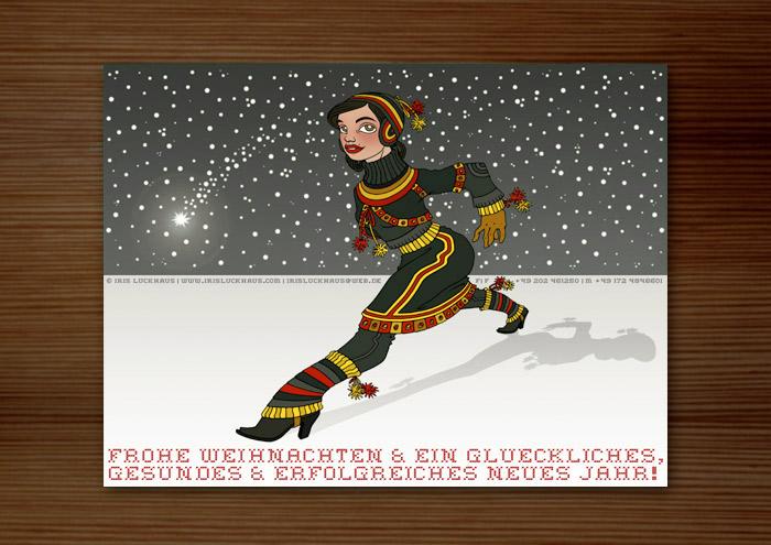 Weihnachtskarte mit der Zeichnung von einem Mädchen in Sami Tracht, das vor einem Himmel voller Schneeflocken und Sternschnuppen in großen Schritten über einen gefrorenen See im Winter geht