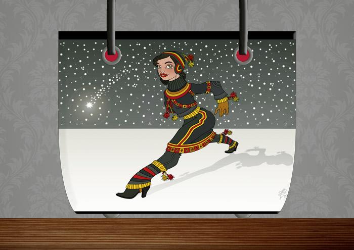 Handtasche mit der Zeichnung von einem Mädchen in Sami Tracht, das vor einem Himmel voller Schneeflocken und Sternschnuppen in großen Schritten über einen gefrorenen See im Winter geht