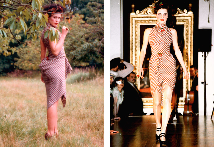 Outfit Sommerfrische mit Sommerkleid, Jagdjacke, Haarkranz und Kirschen aus der Tartan Kollektion mit Kleidungsstücken nach teilweise historischen Originalschnitten